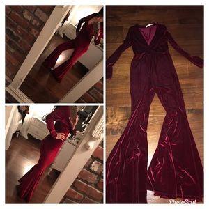 Red velvet jumpsuit bell bottoms flares -S